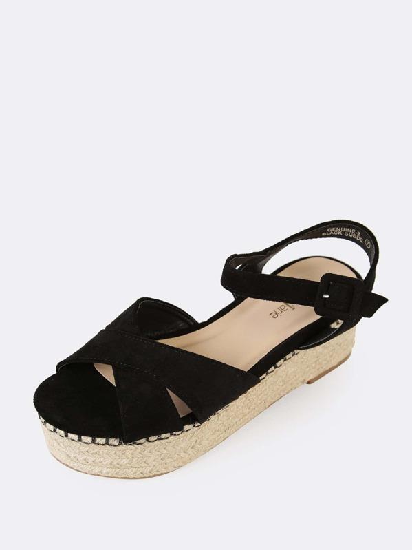 a6e79c271e2a Faux Suede Ankle Strap Espadrille Platform Wedge Sandal