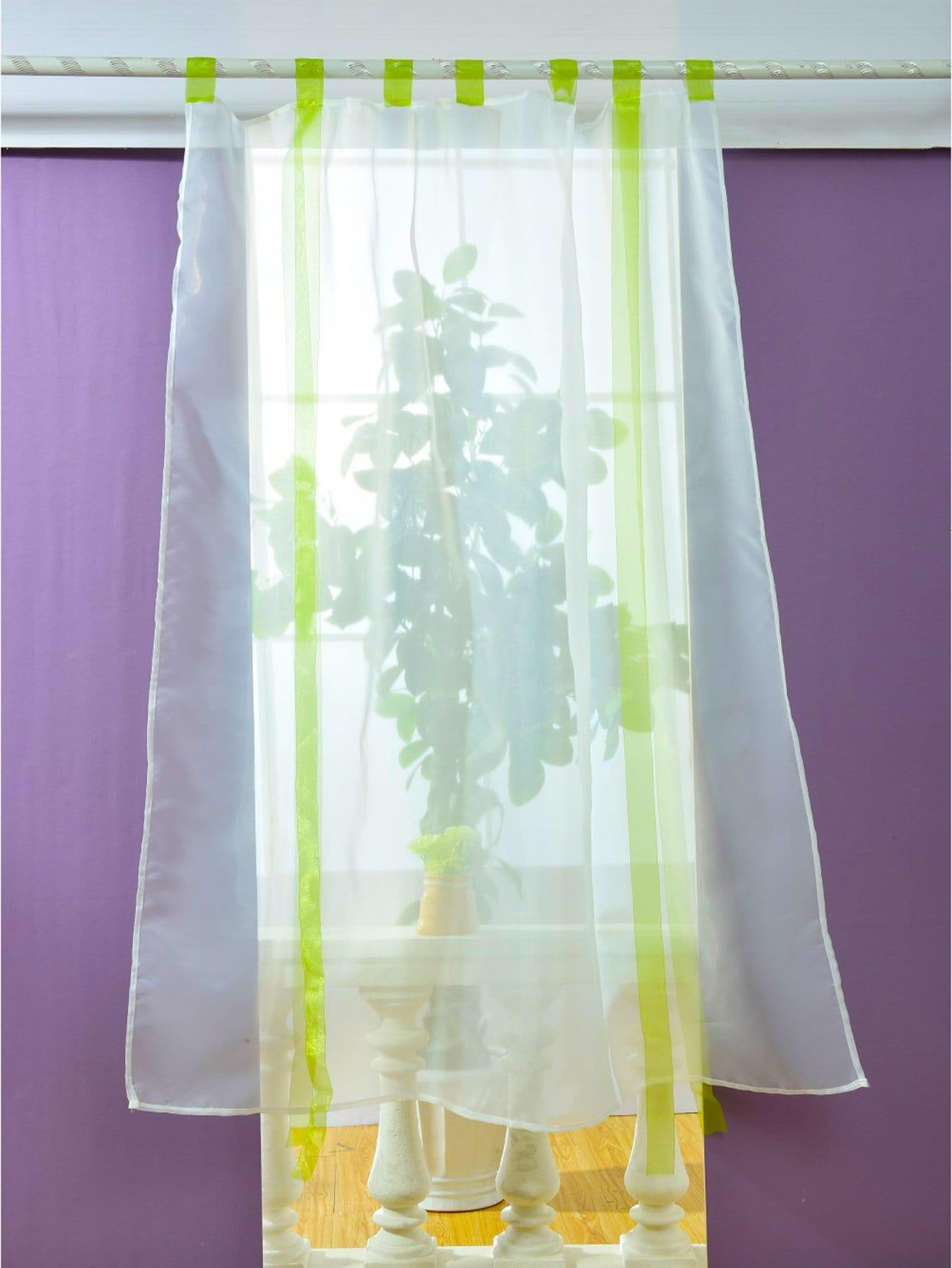 rideau de fen tre en tulle transparent avec n ud papillon 1 pi ce french shein sheinside. Black Bedroom Furniture Sets. Home Design Ideas