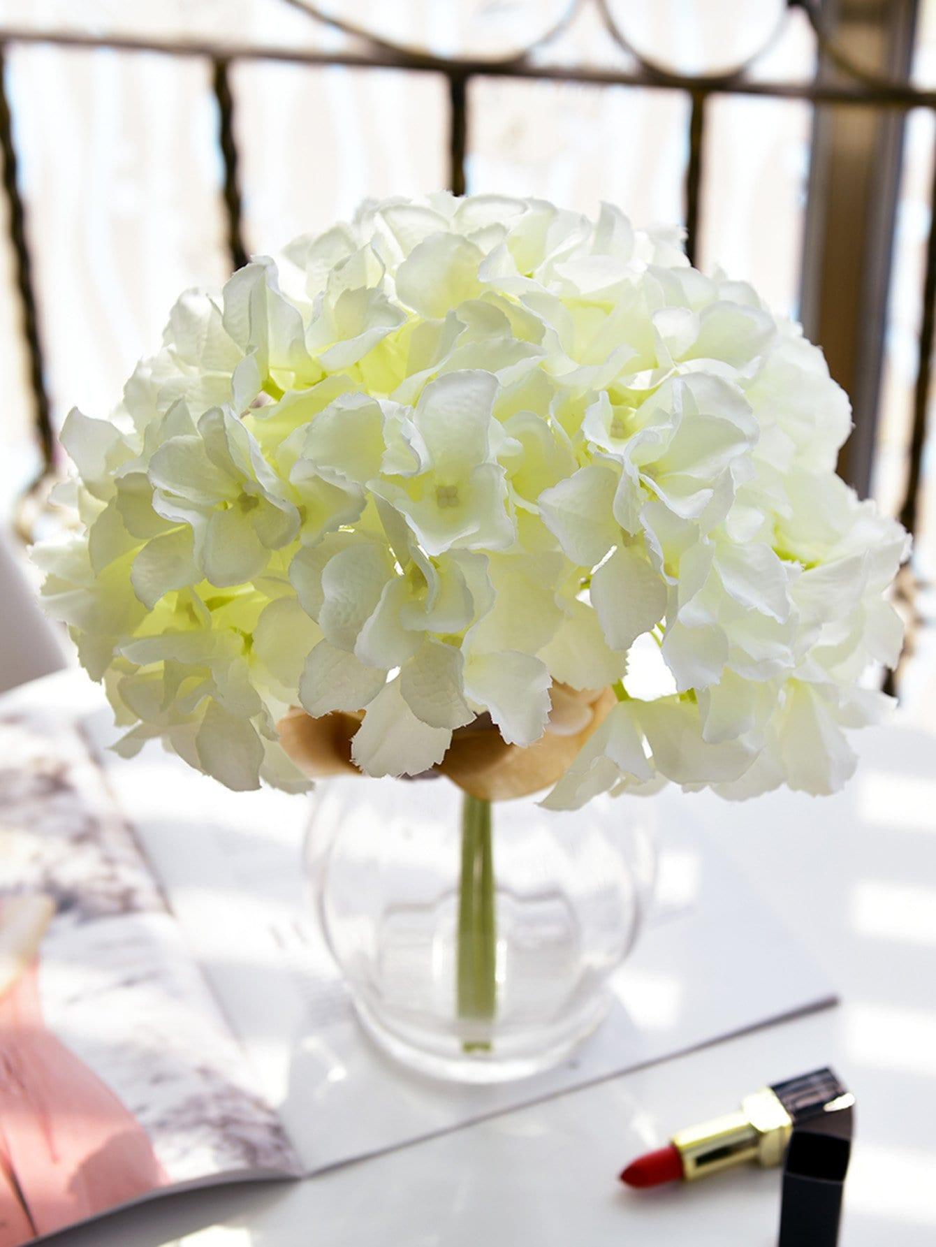 Vaso Con Ortensie Finte 3 bouquet di ortensie artificiali di stelo