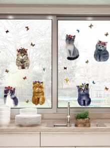 6 Cat Wall Sticker