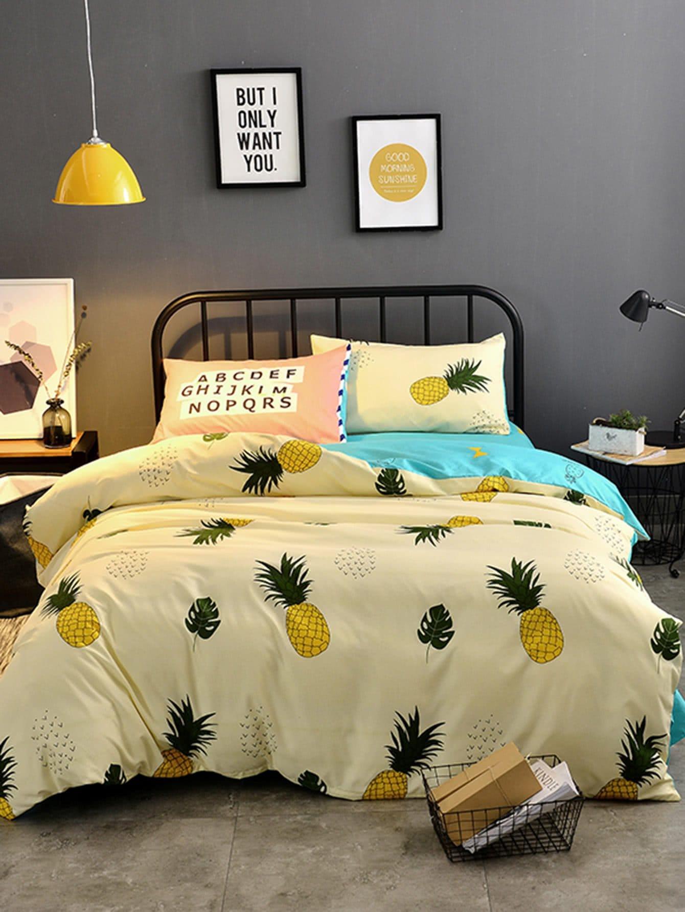 ensemble de housse de couette imprim ananas french romwe. Black Bedroom Furniture Sets. Home Design Ideas