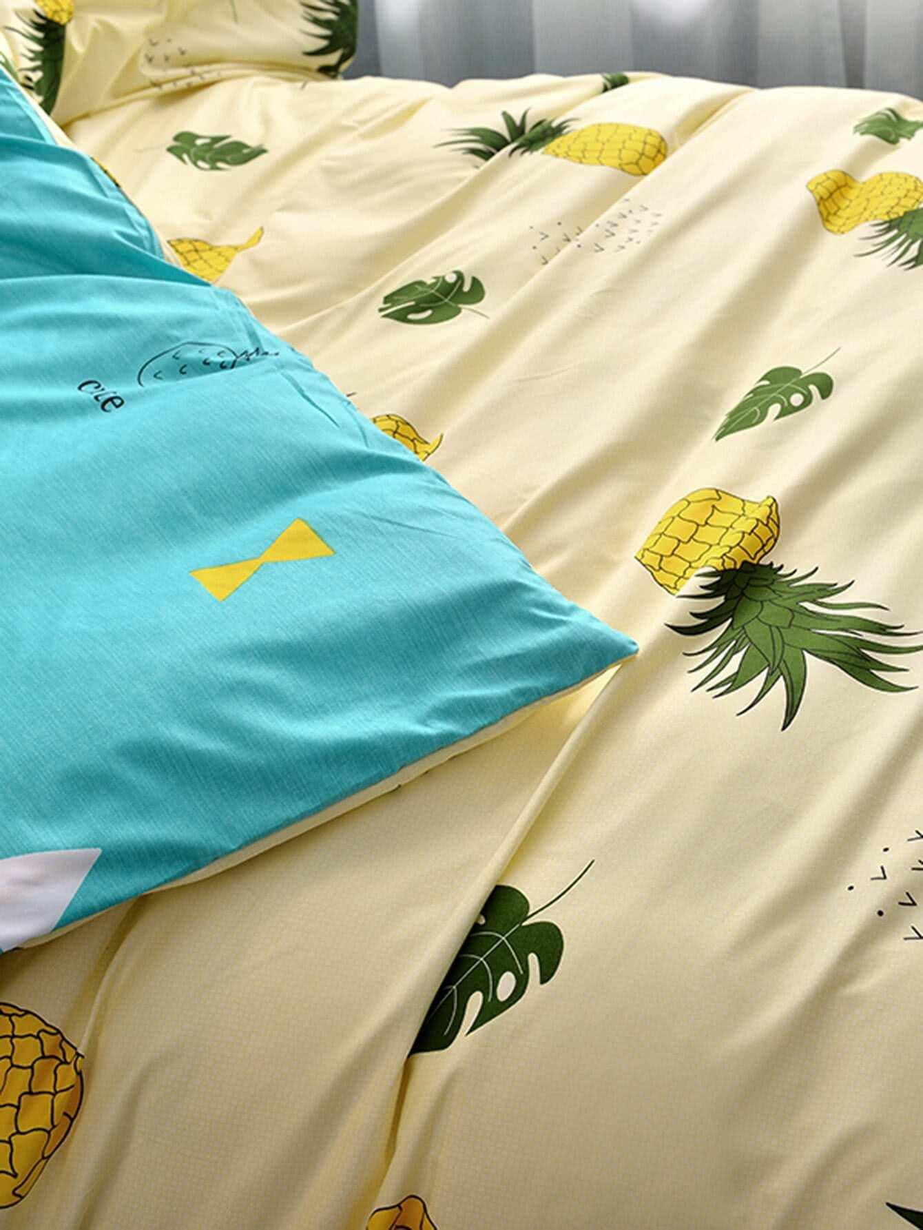 ensemble de housse de couette imprim ananas french shein sheinside. Black Bedroom Furniture Sets. Home Design Ideas