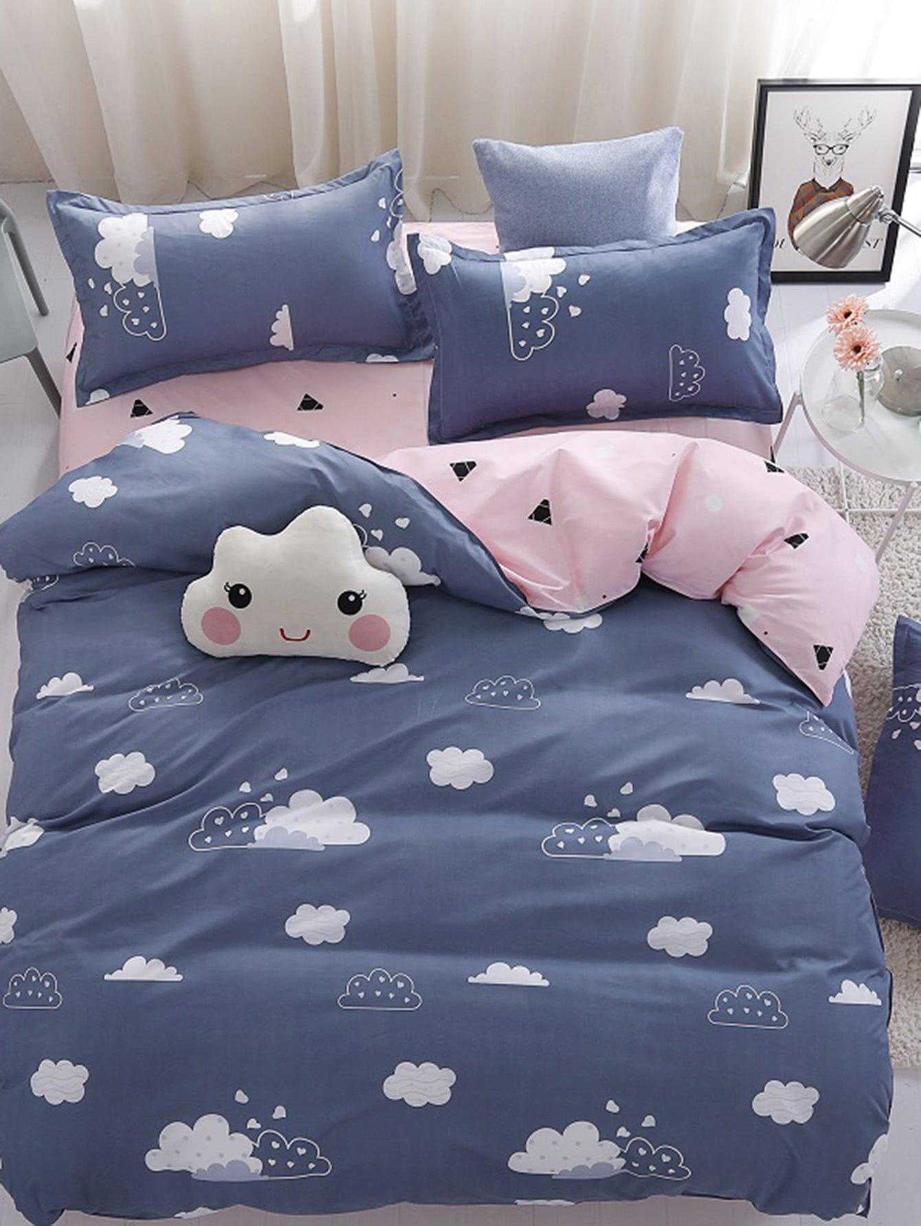 Cloud Print Bed Sheet Set Shein In