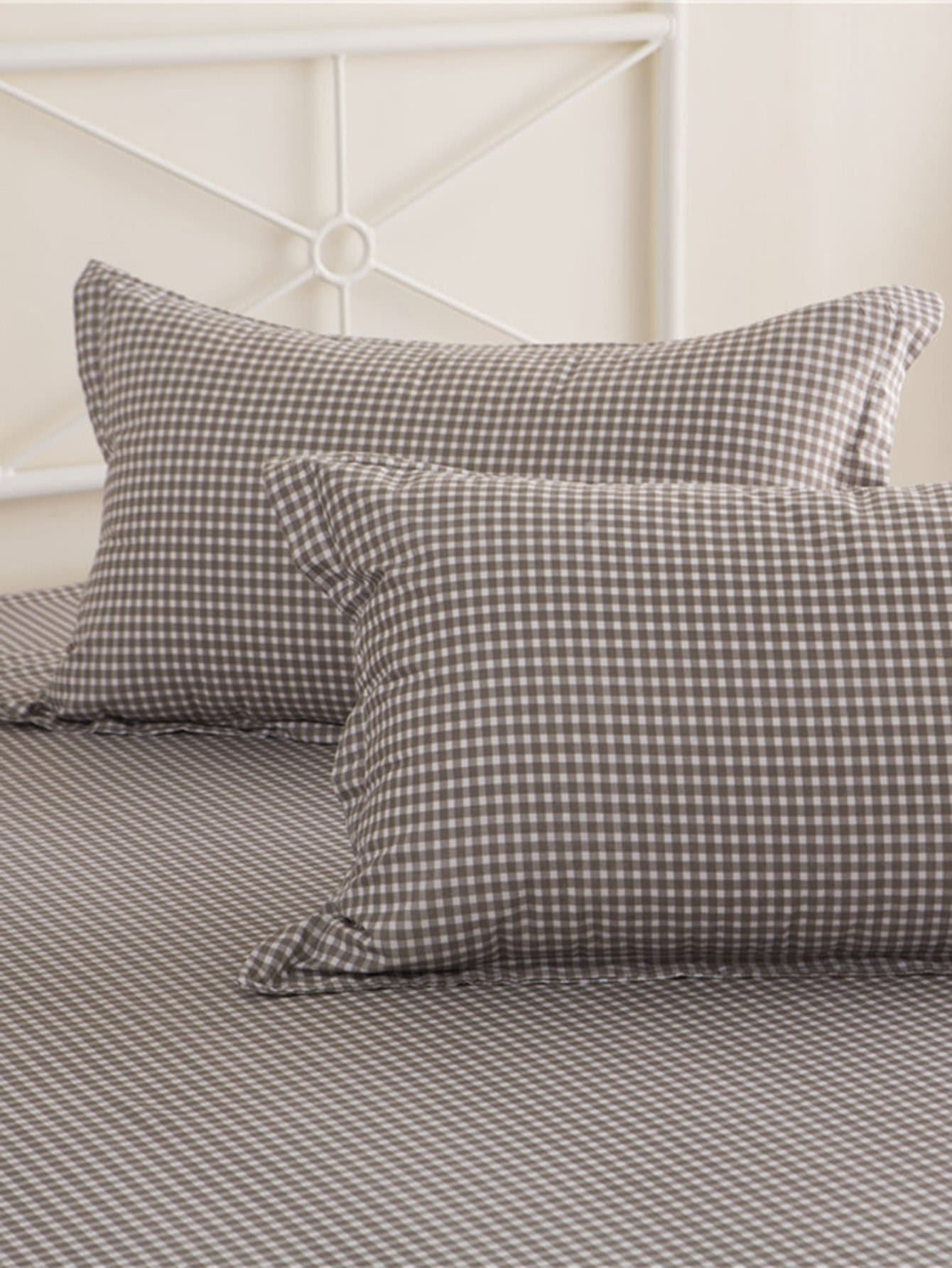 4pcs bettlaken set mit plaid muster german shein sheinside. Black Bedroom Furniture Sets. Home Design Ideas