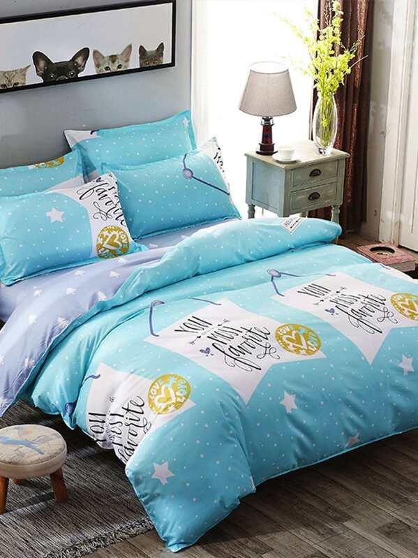 0714aae3ef Star & Letter Print Duvet Cover Set   SHEIN
