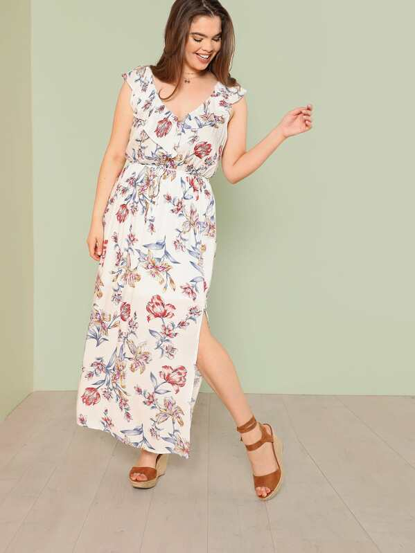 56b8f59b94f Plus Floral Print Ruffle Maxi Dress with Keyhole Back
