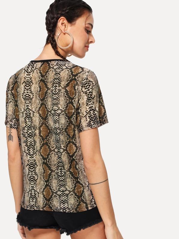 De Estampado Con Camiseta Camiseta Serpiente Con cq54ARL3j