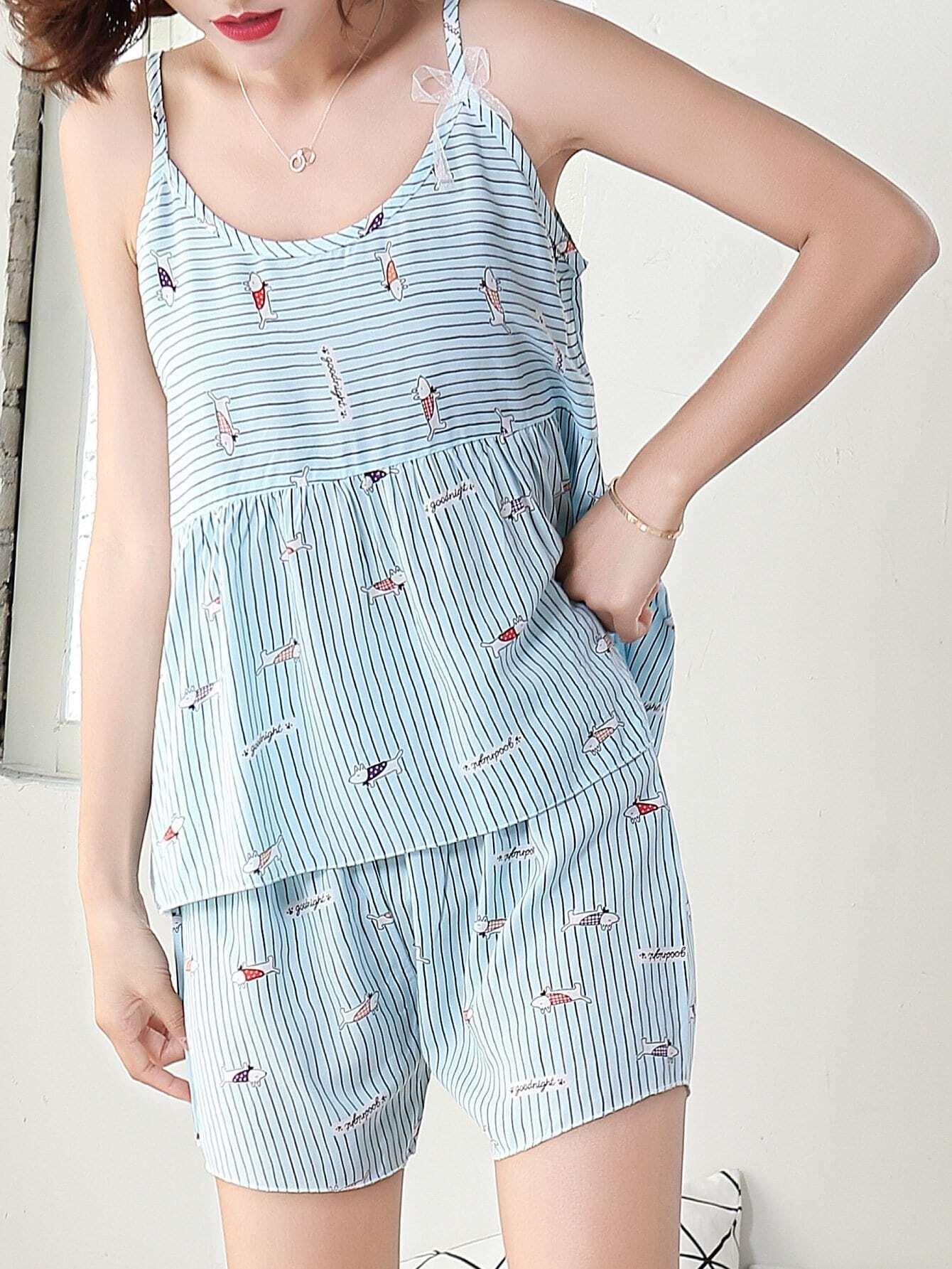 681ff58cff Dog Print Striped Cami Top & Shorts PJ Set | SHEIN