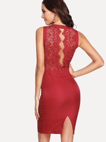 Split Lace Back Pencil Dress