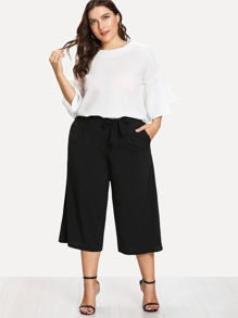 Plus Flounce Sleeve Top & Capris Pants