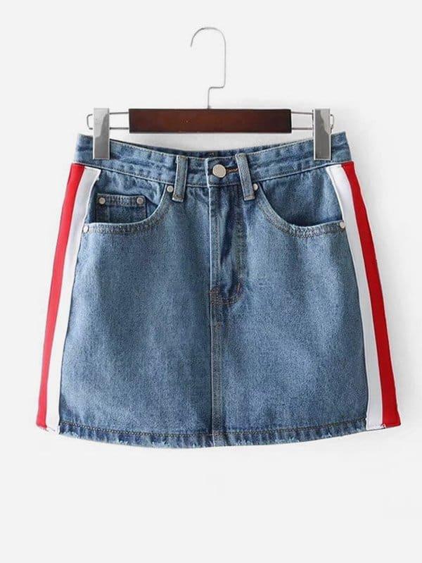 Di Laterali A Gonna Jeans Strisce l1JcTuFK3