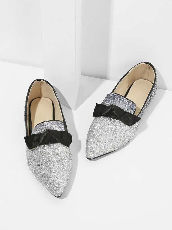 b95441d7 Bow Detail Glitter Pointed Toe Flats | SHEIN