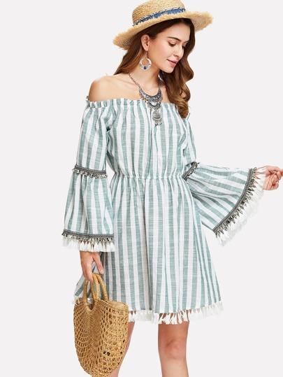 9875e6d38e534a Tassel Accent Bell Sleeve Striped Bardot Dress