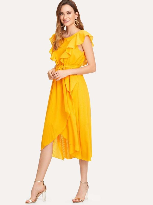 6b4444ee40 Cheap Flounce Trim Asymmetrical Wrap Hem Belted Dress for sale ...