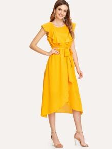 b2f2313cf7 Flounce Trim Asymmetrical Wrap Hem Belted Dress | SHEIN