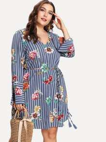 tassel tied mixed print dress