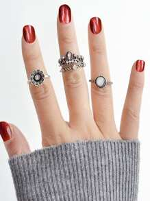 Retro Diamond Crown Ring Set