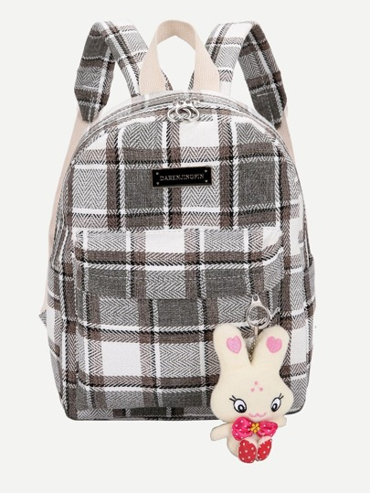 Plaid Backpack With Rabbit Charm