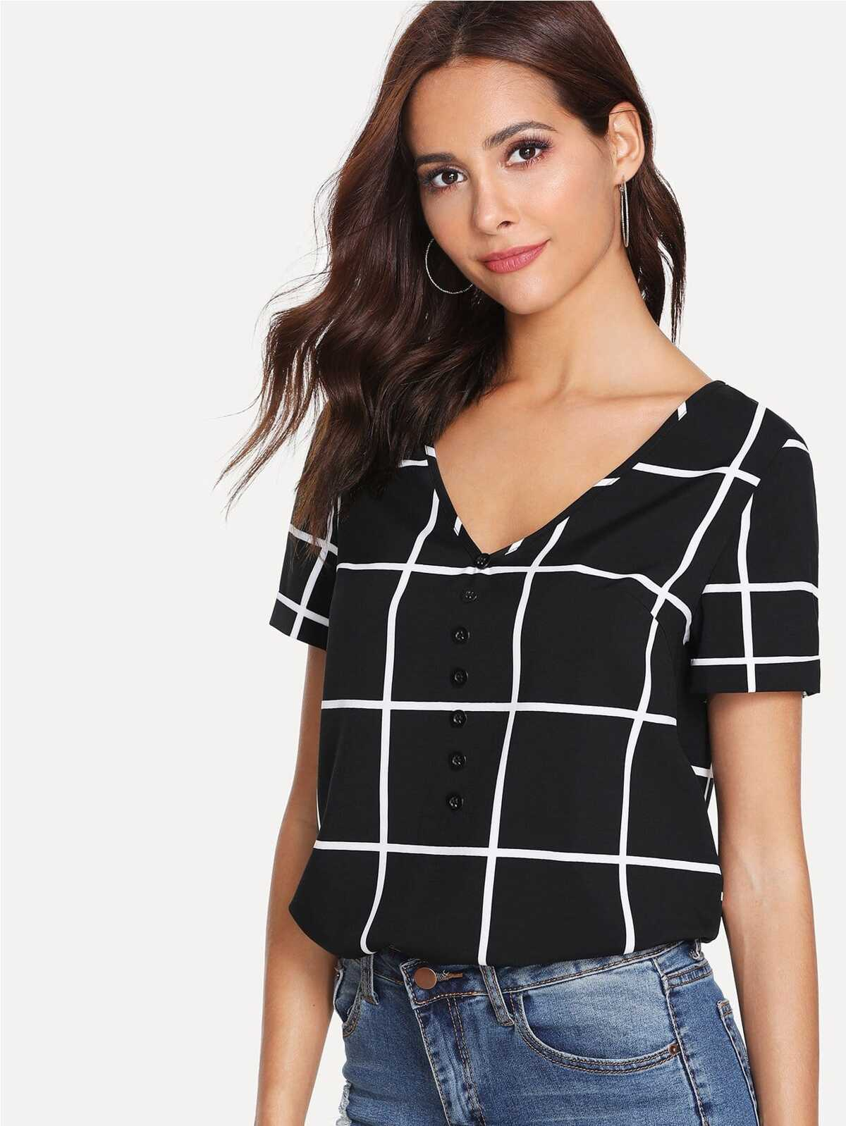 Buttoned V Neck Grid Top by Romwe