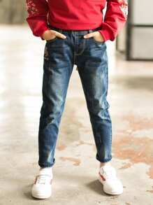 Boys Letter Embroidered Jeans
