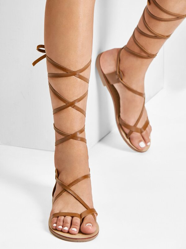 5816fcfa2818 Lace Up Knee High Gladiator Sandal Boots