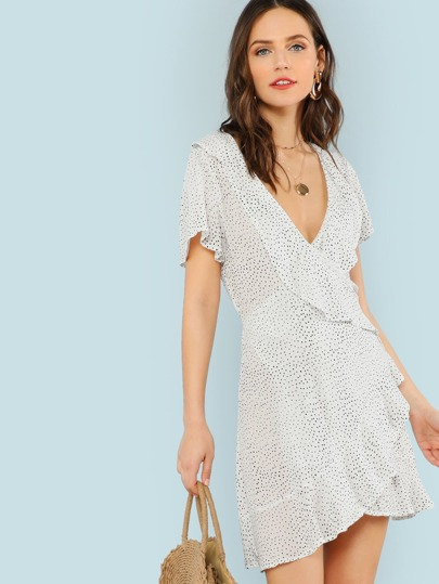 Ruffled Polka Dot Wrap Dress
