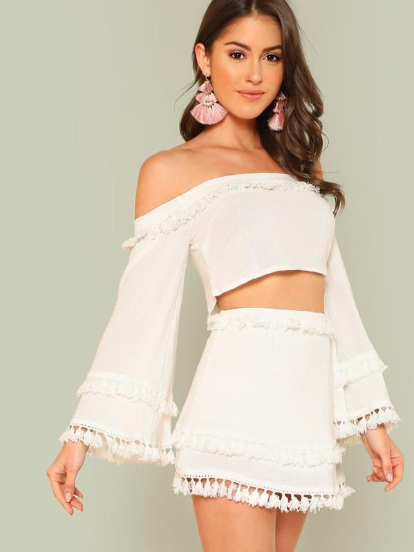 6dc1f510df43dc Bell Sleeve Layered Tassel Trim Crop Bardot Top   Skirt Set