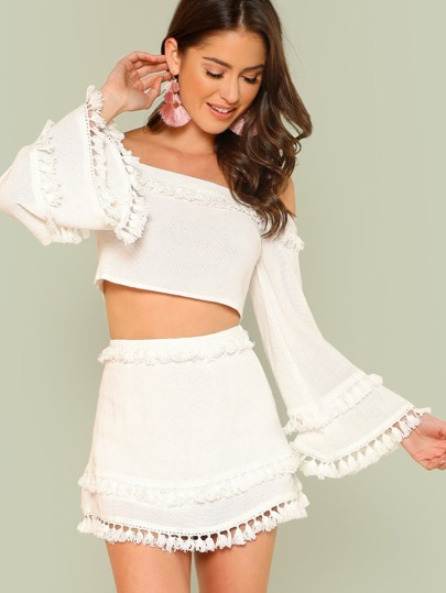 1031f72e94 Bell Sleeve Layered Tassel Trim Crop Bardot Top & Skirt Set