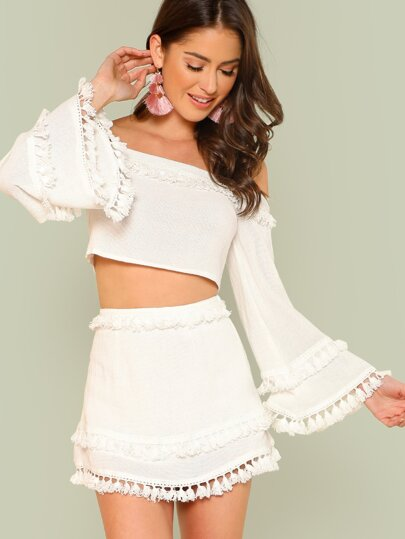49121be1d6 Bell Sleeve Layered Tassel Trim Crop Bardot Top & Skirt Set