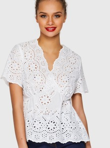 Scalloped Eyelet Embroidered Surplice Wrap Top