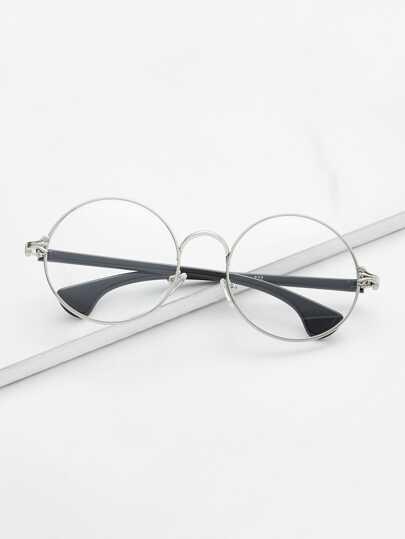 Silver Frame Black Arm Clear Lens Glasses -SheIn(Sheinside)