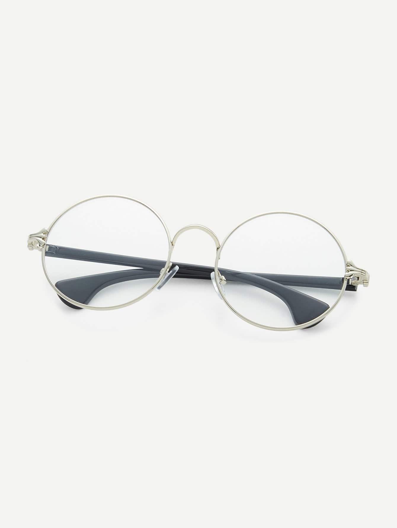 Gafas de sol marco plata con brazo negro con lentes transparente ...