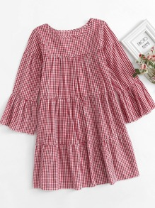 Ruffle Hem Gingham Dress