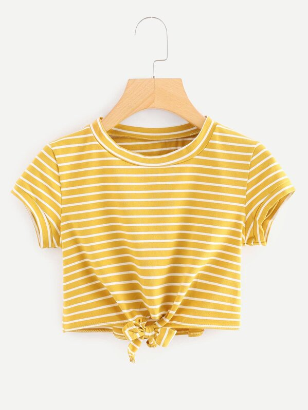 e25264573bd1 Cheap Knot Front Striped Crop Tee for sale Australia