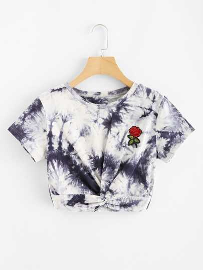 9e20415341cf Embroidered Applique Twist Front Tie Dye Tee