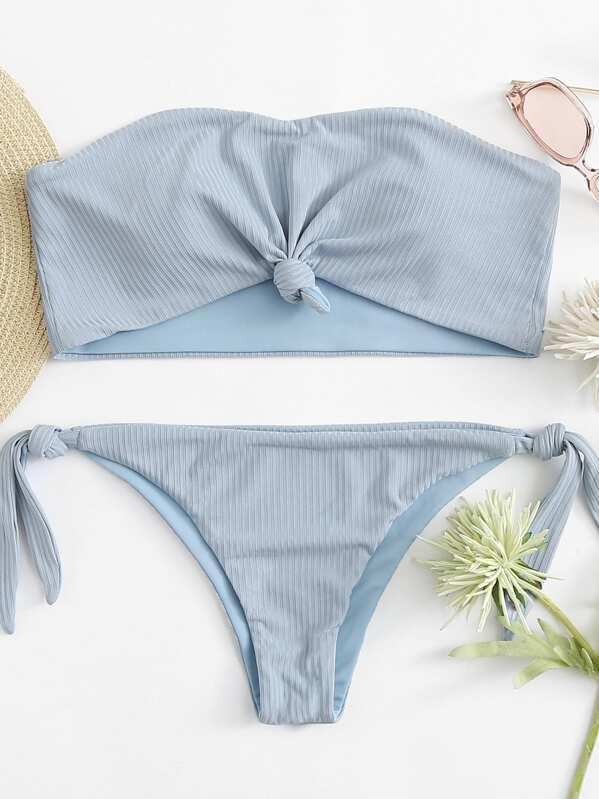 c64166aace Ribbed Knot Bandeau With Tie Side Bikini Set | SHEIN