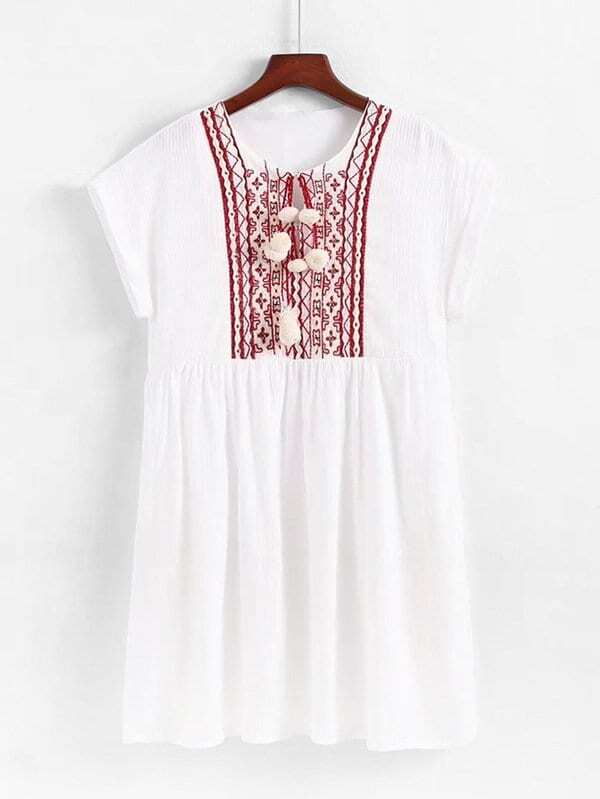 a2662d8b5ef Cheap Geo Embroidered Pom Pom Detail Babydoll Dress for sale Australia