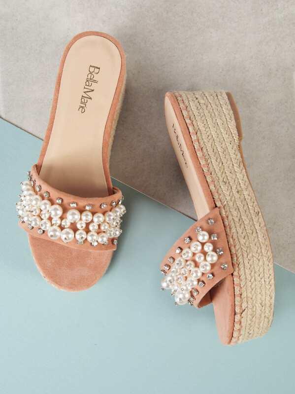 e2ecf029b Pearl and Gemstone Embellished Espadrille Platform Wedge Mule Sandal ...