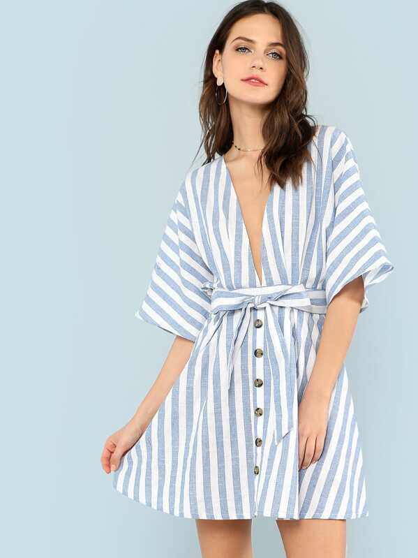 9ce1552f2219 Deep V Neck Button Front Striped Dress | SHEIN UK