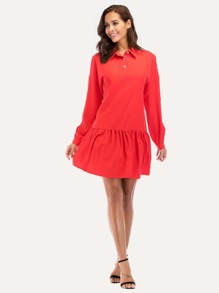 Faux Pearl Beading Ruffle Hem Shirt Dress