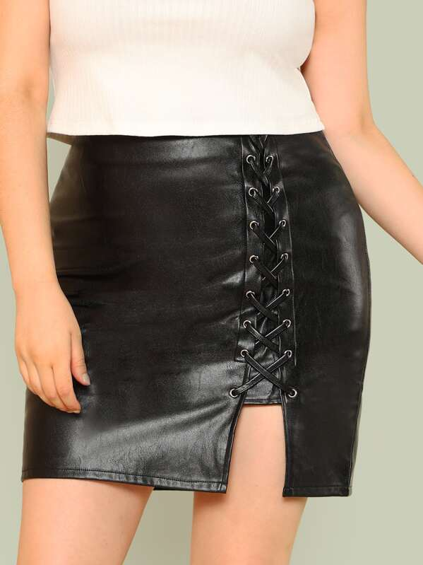 99ff41b90256f9 Plus Faux Leather Lace Up Skirt   SHEIN