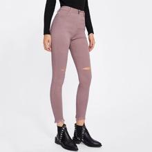 Knee Rips Frayed Hem Jeans leggings171108030