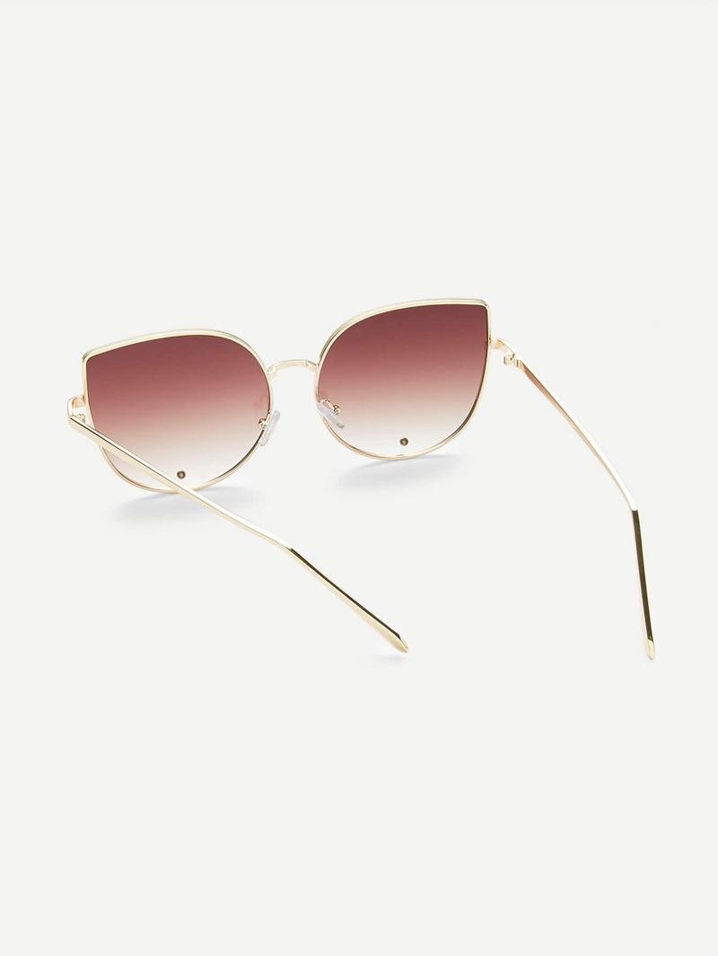 más popular disfruta del precio inferior 100% de satisfacción Gafas de sol con marco dorado ojo de gato de moda - marrón