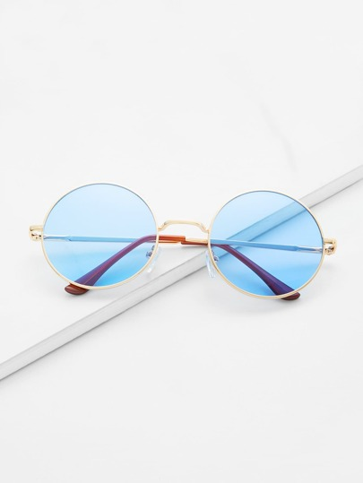 Gold Frame Light Blue Retro Style Round Sunglasses