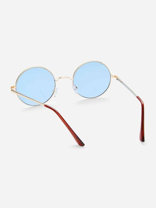 17c0d80f74 Gold Frame Light Blue Retro Style Round Sunglasses   SHEIN