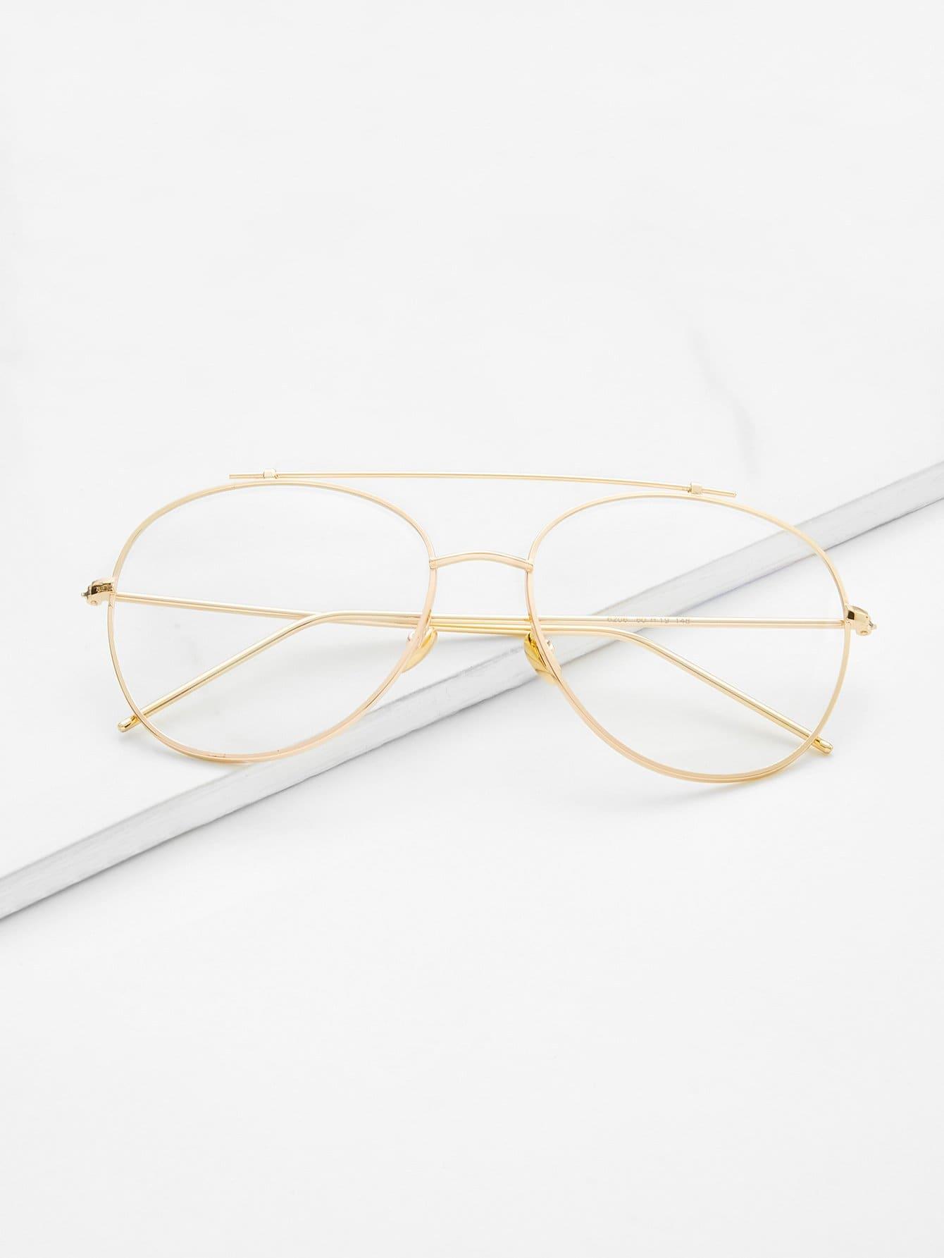 Gafas de sol doble puente con marco dorado y lentes transparente ...