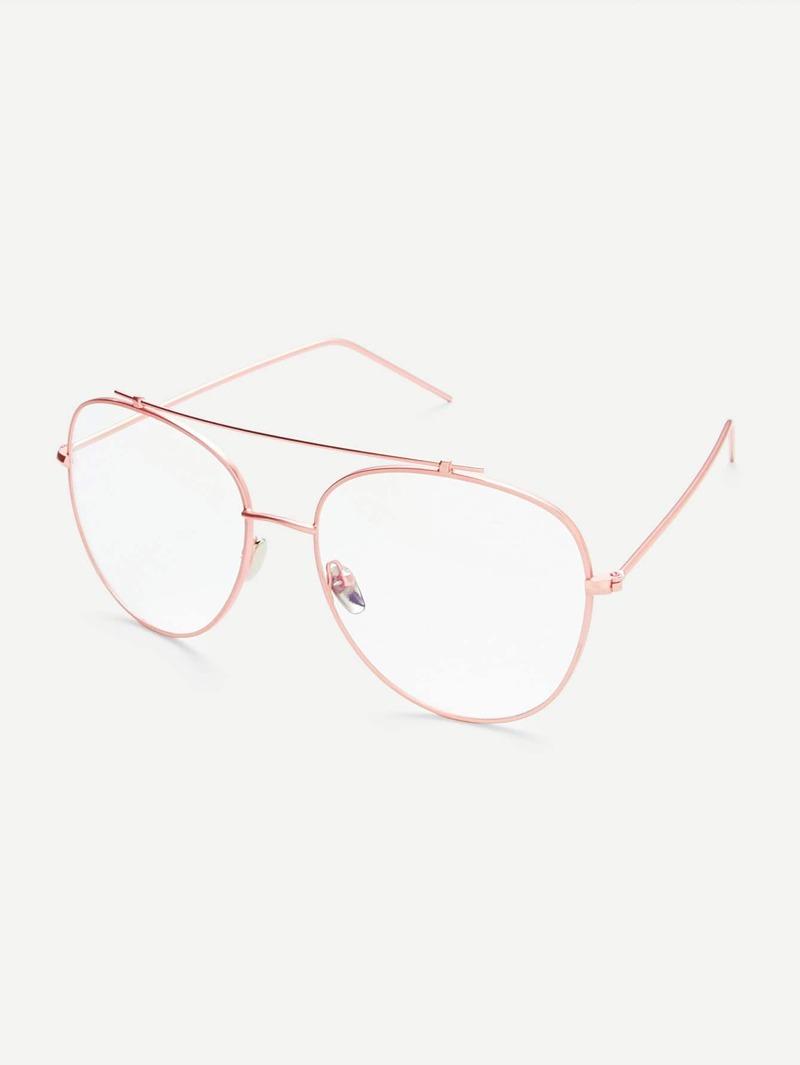 descuento más bajo auténtico auténtico calidad Gafas de sol doble puente con marco rosa dorado y lentes transparente