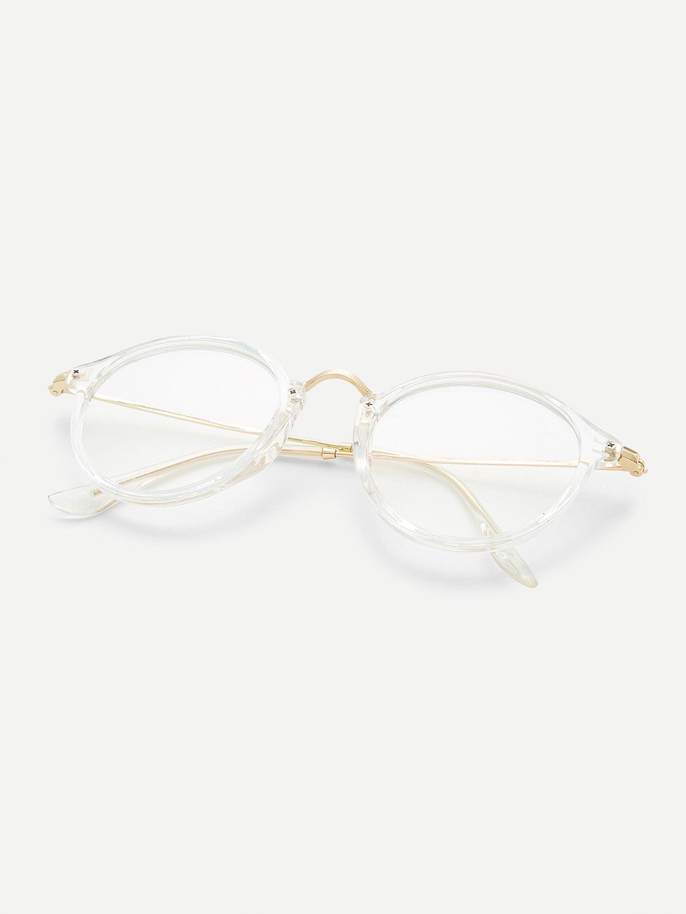 Gafas con marco transparente con barra superior metálica -Spanish Romwe