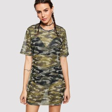 Camouflage Hollow Out Dress blouse180413192