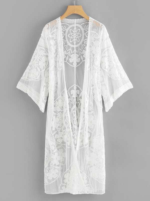 821a9cdab14cd Kimono transparent en dentelle | SHEIN